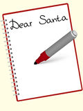 Dear santa. Letter to Santa Claus written at the notebook Stock Photo