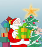 Dear Santa Claus. Santa Claus giving a gift royalty free illustration