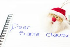 Dear santa claus. Letter to Santa Claus of a santa claus. White background. isolated Stock Photos
