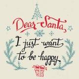 Dear Santa, I just want to be happy greeting card Stock Photos