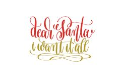 Dear santa i want it all hand lettering holiday red and gold ins Stock Photography