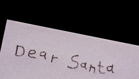 Dear Santa isolated on black Stock Photography