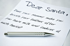 Dear Santa letter. And a pen Royalty Free Stock Photography