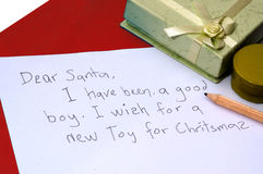 Dear Santa letter. A dear santa letter written by a child for Christmas royalty free stock photos