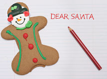 Dear Santa letter. With a gingerbread man cookie royalty free stock photos