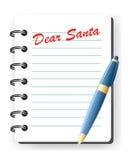 Dear santa letter. Children letter for santa, notepad with pen Stock Photos