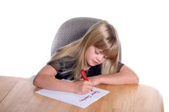 Dear Santa Letter Girl3. Young girl writing letter to Santa Royalty Free Stock Photography