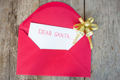 Dear Santa. Letter to Santa with envelop and Christmas decoration Stock Image