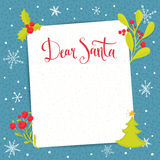 Dear Santa - letter to Santa Claus with blank Stock Photos