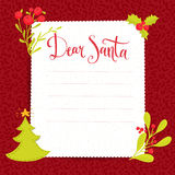 Dear Santa - letter to Santa Claus with copyspace Royalty Free Stock Photos