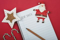 Dear Santa, Letter to santa claus. On red background Stock Photography