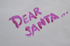Dear santa. Painted on to white background Stock Image