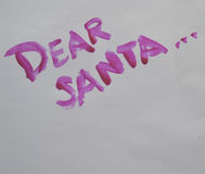 Dear santa. Painted on to white background Royalty Free Stock Image