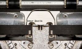 Dear Santa typed on an old typewriter. Close up view Royalty Free Stock Image