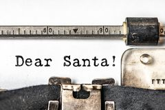 Dear Santa typed words on a vintage typewriter. Close up.  stock photo