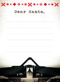 Dear Santa, Typewriter wish list letter. Dear Santa wish list letter, Typewriter written message royalty free stock images