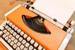 Dear Santa on Typewriter. Dear Santa written with black ink with the old orange Typewriter Royalty Free Stock Photos