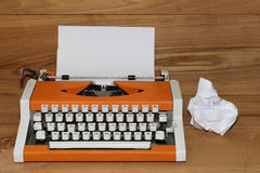 Dear Santa on Typewriter. Dear Santa written with black ink with the old orange Typewriter Royalty Free Stock Photography