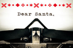 Dear Santa wish list letter. Typewriter written message with copy space Stock Image