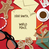 Dear Santa world peace letter from child Stock Images