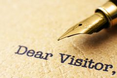 Dear visitor Royalty Free Stock Images