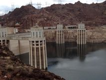 Dear water: you shall not pass. Hoover Dam and it's towers Stock Images