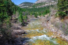 Dearborn River cascading down a Canyon in Montana royalty free stock photography
