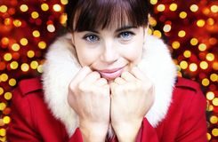 Dearly woman portrait for Christmas. Holiday Stock Photos