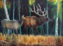 Dears dans la forêt - peinture à l'huile Photographie stock