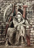 The death. Drawing of the Death seating on a chair holding scythe - airbrush stock illustration