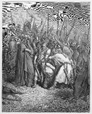 The death of Agag. Picture from The Holy Scriptures, Old and New Testaments books collection published in 1885, Stuttgart-Germany. Drawings by Gustave Dore stock illustration