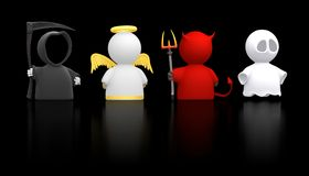 Death, Angel, Devil, and Ghost - black version. Death, an Angel, the Devil and a Ghost as icon characters. Could be used for religious concepts, halloween Royalty Free Stock Photos