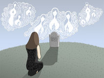 Death and Angels. Illustration of a grieving woman kneeling in front of a grave with angels looking down upon her Royalty Free Stock Photography