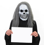 Death with a banner. Dress up for Halloween - death with a blank banner stock images