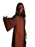 Death beckons. Skeletal death figure in hooded robe making beckoning gesture Stock Photography