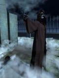 Death beckons. Skeletal death figure in hooded robe making beckoning gesture in moonlit graveyard Stock Photo