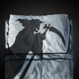 Death Bed. And fear of mortality concept as a grim reaper ghost casting a shadow on a pillow and sleep mattress as a medical and health fatality symbol in a 3D Royalty Free Stock Image
