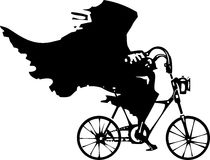 Death on a Bicycle. Woodcut styled image of a hooded wraith or death riding a bicycle royalty free illustration