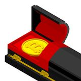 Death bitcoin in coffin. Rip cryptocurrency. Parting electronic. Money. Sorrow Virtual cash royalty free illustration