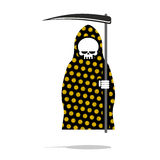 Death in black Pajamas with yellow flowers. Grim Reaper in hood Stock Photography