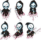 Death with blades. Set of color vector illustrations Royalty Free Stock Photography