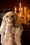 Death with a bridal veil. Death skull wearing the wedding veil of a bride Royalty Free Stock Photos
