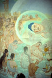 Death of the Buddha. frescoSarnath, [Varanasi / Benares]India Stock Photography