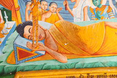Death of Buddha fresco Royalty Free Stock Photo