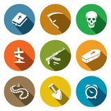 Death and burial icons set Stock Photos