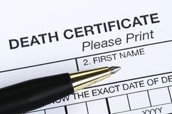 Death certificate. Close up view of the death certificate Stock Photography