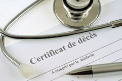 Death certificate written in French royalty free stock photography