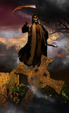 Death coming. The personified Death, walking with her scythe among tombstones, coming out from the graveyard and pointing at her victim Royalty Free Stock Photos