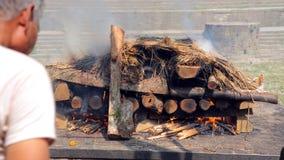 death corpse burning cremation fire, pashupatinath temple, kathmandu, nepal Stock Image