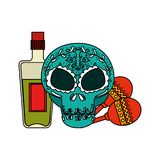 Death day mask with tequila bottle and maracas. Vector illustration design vector illustration